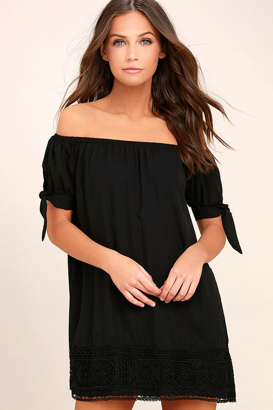 Moment In The Sun Black Lace Off-the-Shoulder Dress 1