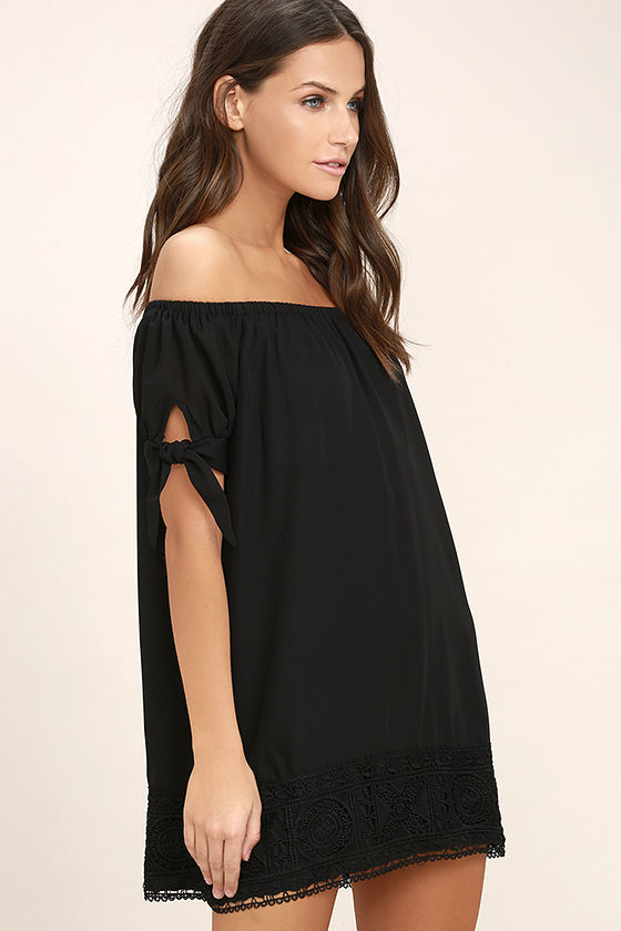 Moment In The Sun Black Lace Off-the-Shoulder Dress 3