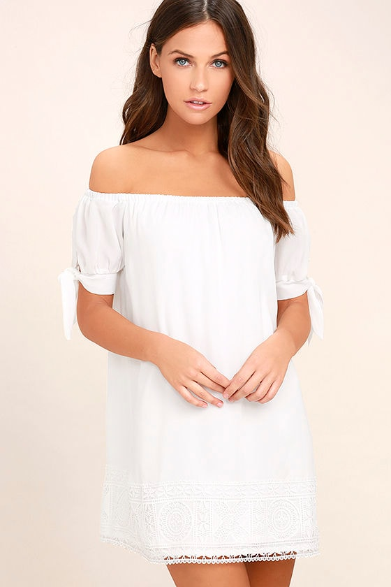 Moment In The Sun White Lace Off-the-Shoulder Dress - Lulus