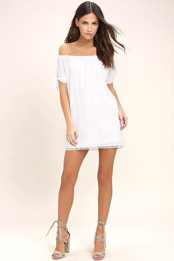 Moment In The Sun White Lace Off-the-Shoulder Dress 2
