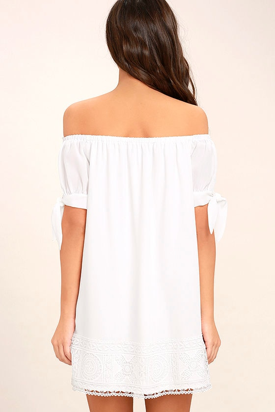 Moment In The Sun White Lace Off-the-Shoulder Dress 4