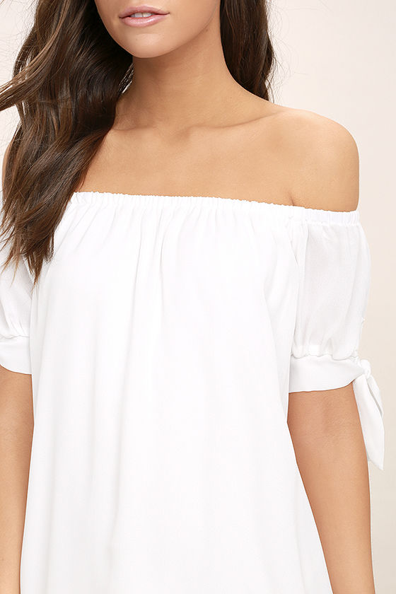 Moment In The Sun White Lace Off-the-Shoulder Dress 5