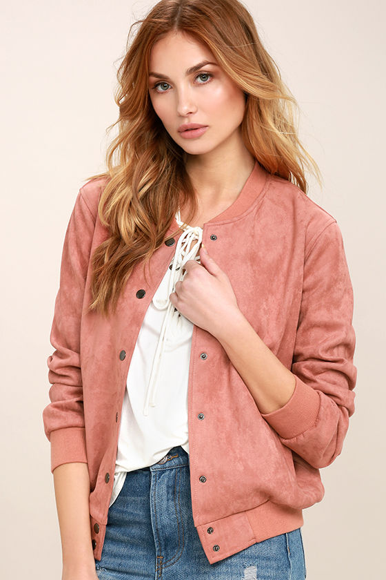 Home Run Blush Pink Suede Varsity Jacket 1