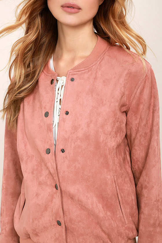 Cool Suede Varsity Jacket - Blush Pink Suede Jacket - Suede Bomber