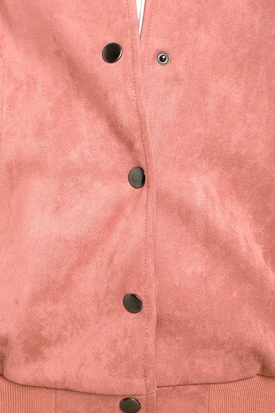Home Run Blush Pink Suede Varsity Jacket 6