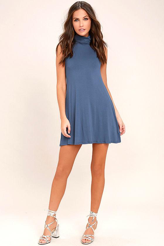 Carpe Diem Denim Blue Swing Dress 2