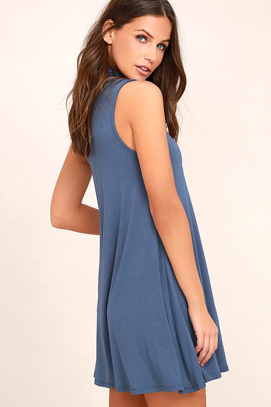 Carpe Diem Denim Blue Swing Dress 3