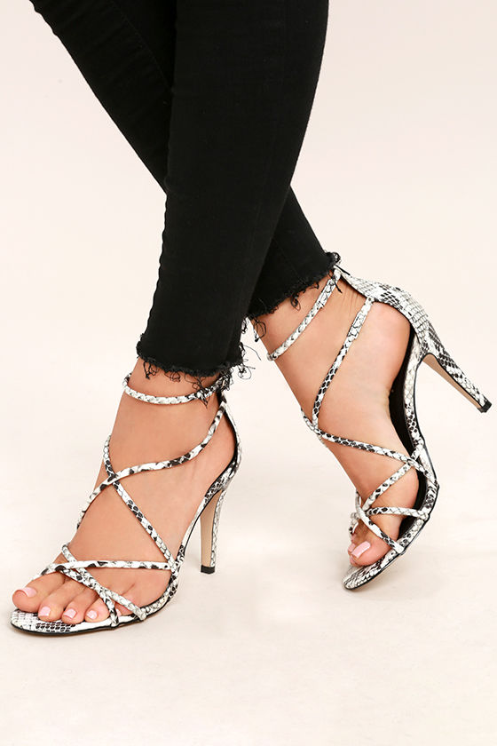 Annora Snake Print Dress Sandals 1