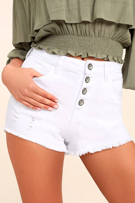 Others Follow Garden Grove White Distressed Cutoff Denim Shorts 1