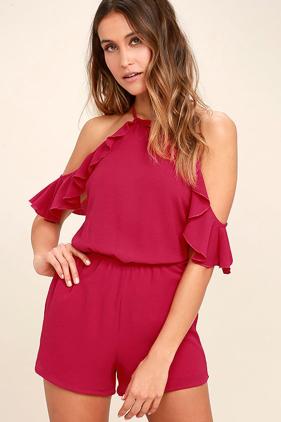 Palpitate Berry Pink Off-the-Shoulder Romper 1