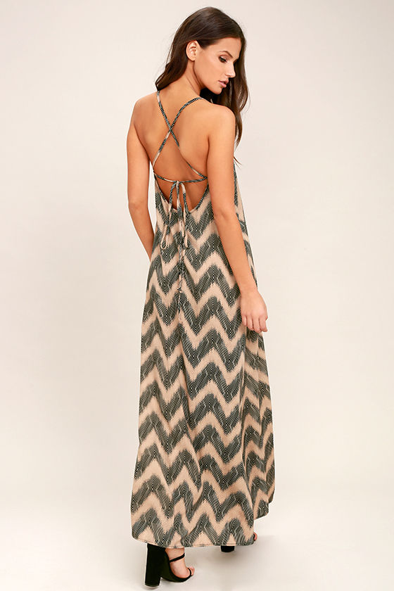 chic beige and black dress maxi dress chevron print
