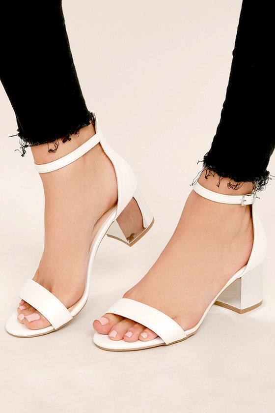 e52dabaa3dd Lovely White Heels - White Vegan Leather Heels - Ankle Strap Heels - Block  Heels -  32.00