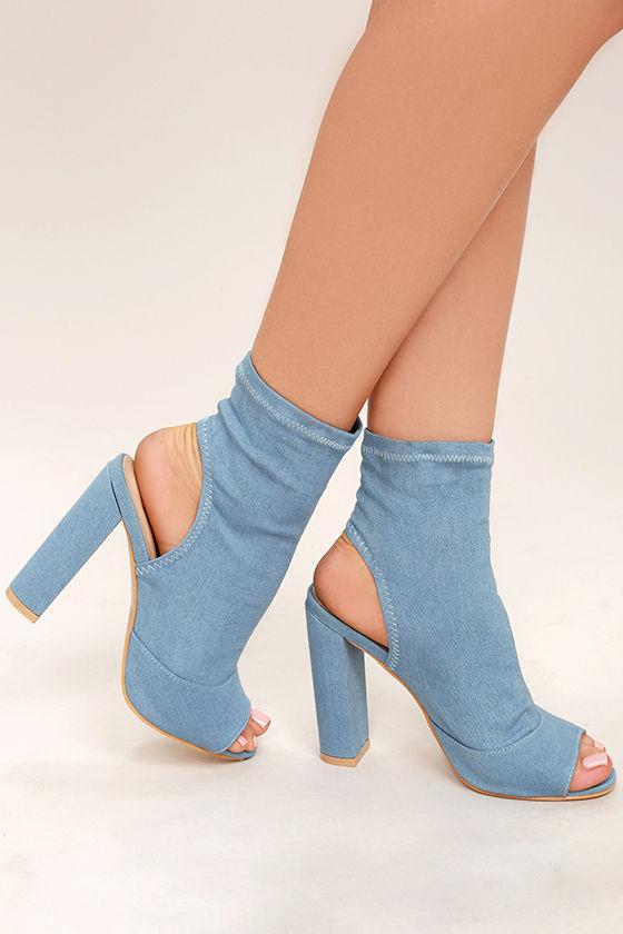 076da1af8c28 Cute Blue Denim Booties - Denim Peep-Toe Booties - Denim Heels -  48.00