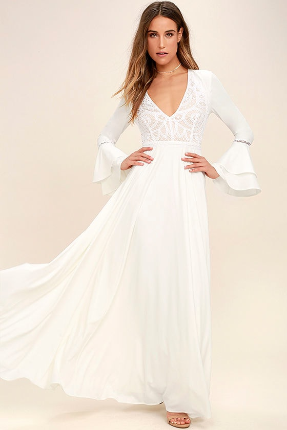 Lovely White Dress Lace Dress Maxi Dress
