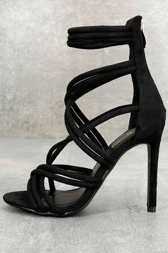Aberdeen Black Suede Caged Heels 1