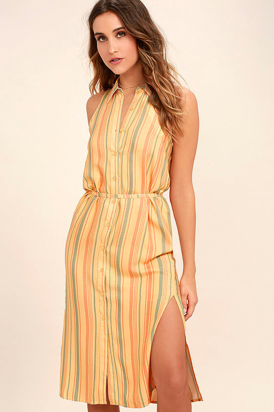 Sunburst Light Orange Striped Shirt Dress 1
