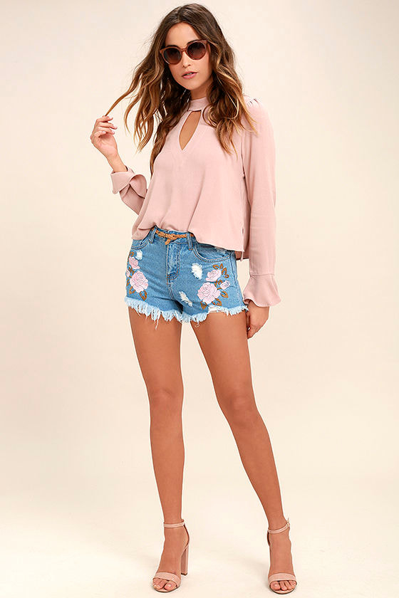 Posy Parade Light Wash Embroidered Distressed Denim Shorts 3