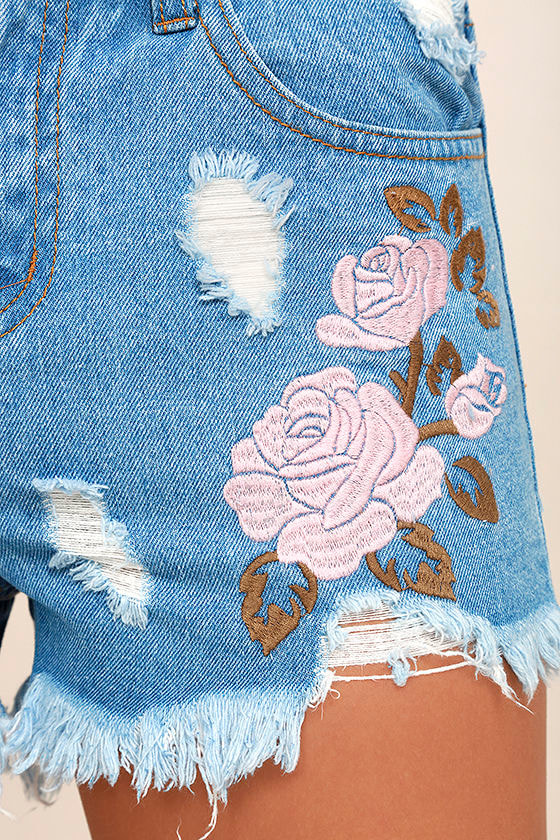 Posy Parade Light Wash Embroidered Distressed Denim Shorts 6