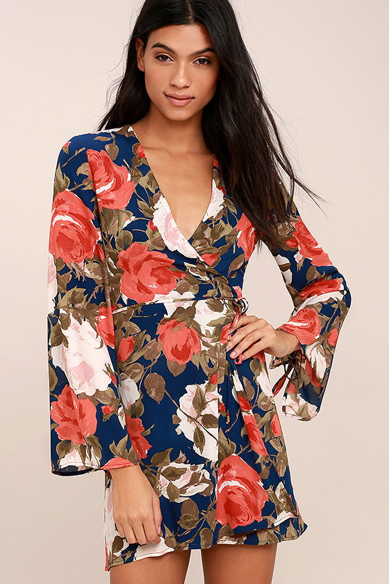Wrapped Up in Roses Navy Blue Floral Print Dress 1