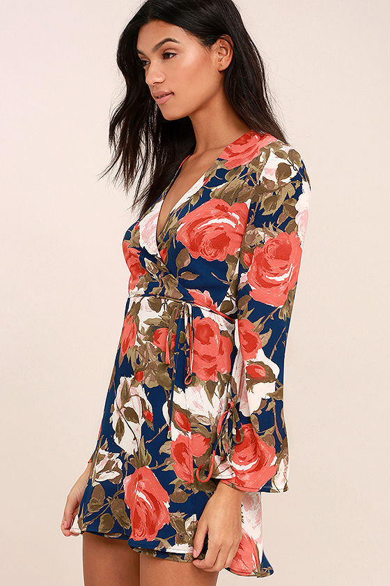 Wrapped Up in Roses Navy Blue Floral Print Dress 3