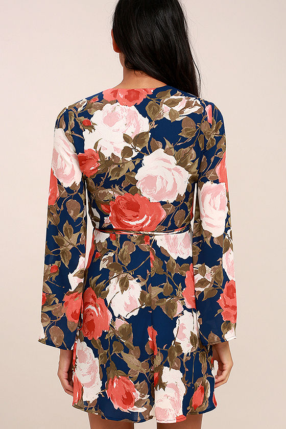 Wrapped Up in Roses Navy Blue Floral Print Dress 4