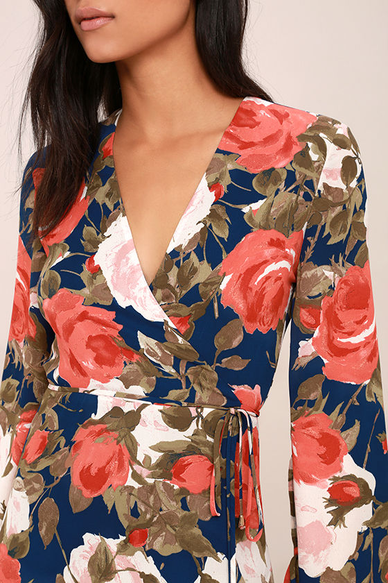 Wrapped Up in Roses Navy Blue Floral Print Dress 5