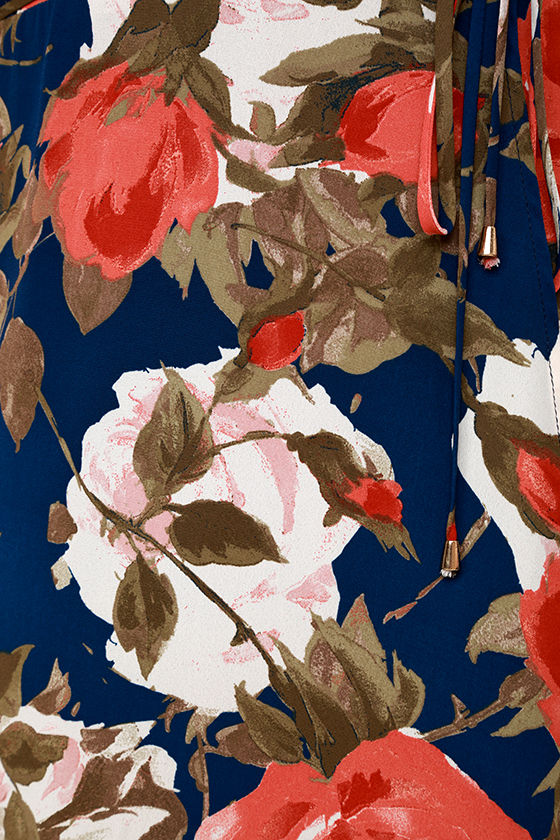 Wrapped Up in Roses Navy Blue Floral Print Dress 6