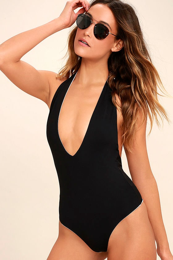 Bond-Eye Dive In Black Reversible Halter One Piece Swimsuit 1