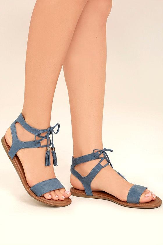 Cute Blue Sandals Flat Sandals Lace Up Sandals Boho
