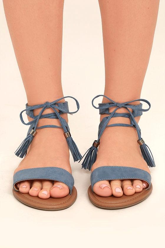 6b2096b25764 Cute Blue Sandals - Flat Sandals - Lace-Up Sandals - Boho Shoes -  22.00
