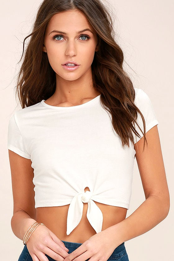 0b1b9581f59 Cool Ivory Top - Crop Top - Ivory Tee - Tie Front Top