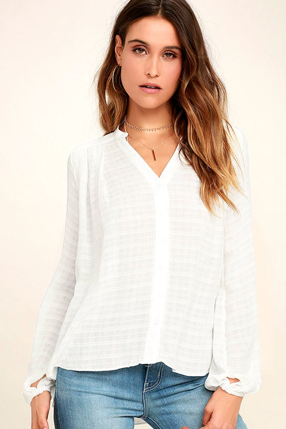 b7064cac477f7e Lovely White Top - Button-Up Top - Long Sleeve Top - Tunic Top - $48.00