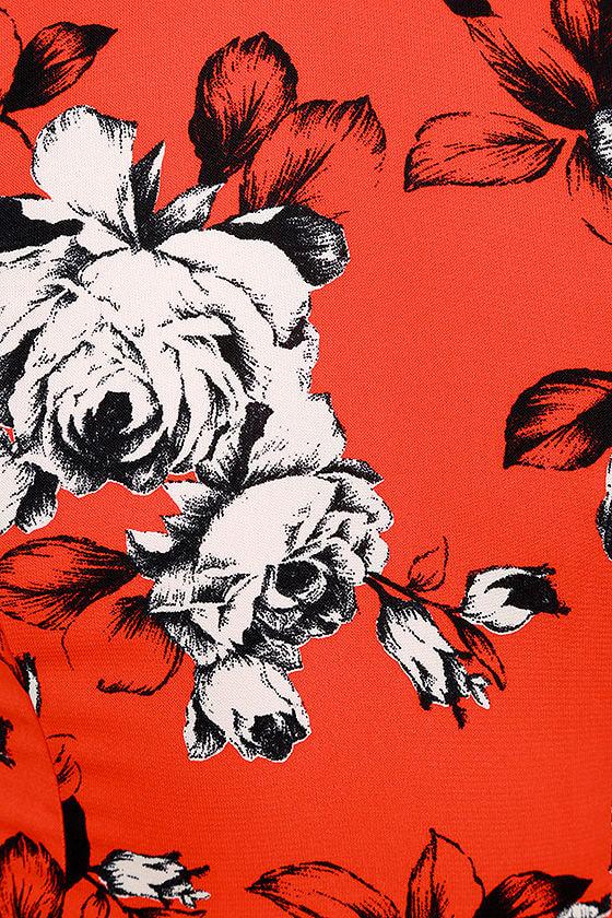 Storybook Ending Coral Red Floral Print Halter Top 6