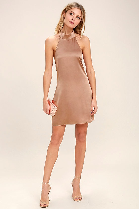 Chic Light Brown Dress - Swing Dress - Backless Dress - Halter ...