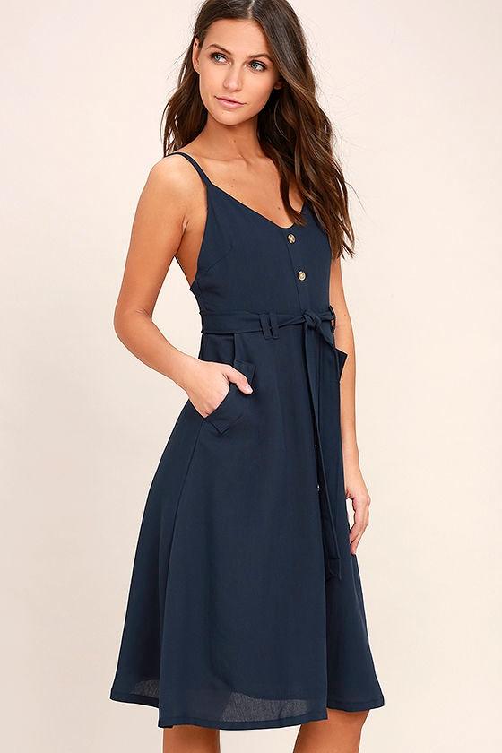 navy blue dress sleeveless dress belted dress