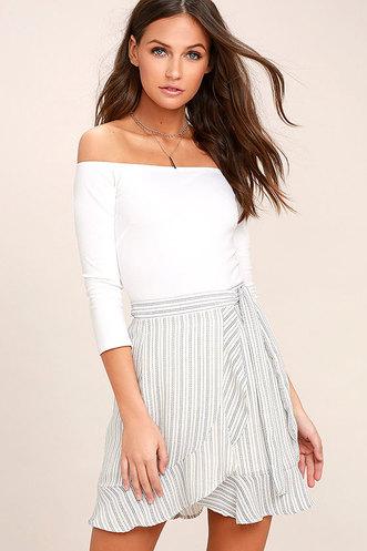 2103bb6137a4 Walk on Air Blue and White Striped Wrap Mini Skirt