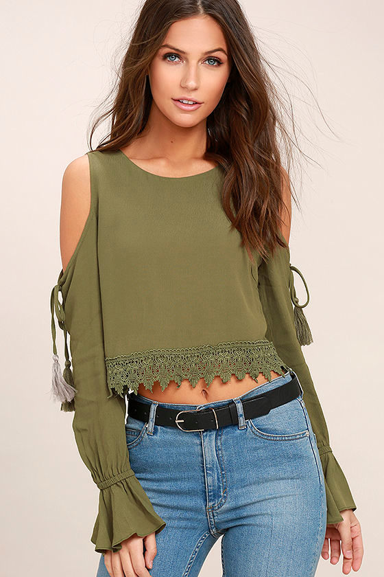 2f253798f20cb4 Cute Olive Green Top - Long Sleeve Top - Crop Top - Cold Shoulder Top -   42.00