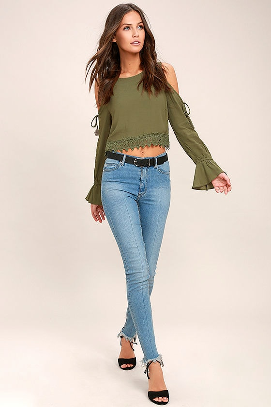 Trip to the Vineyard Olive Green Long Sleeve Lace Crop Top 2