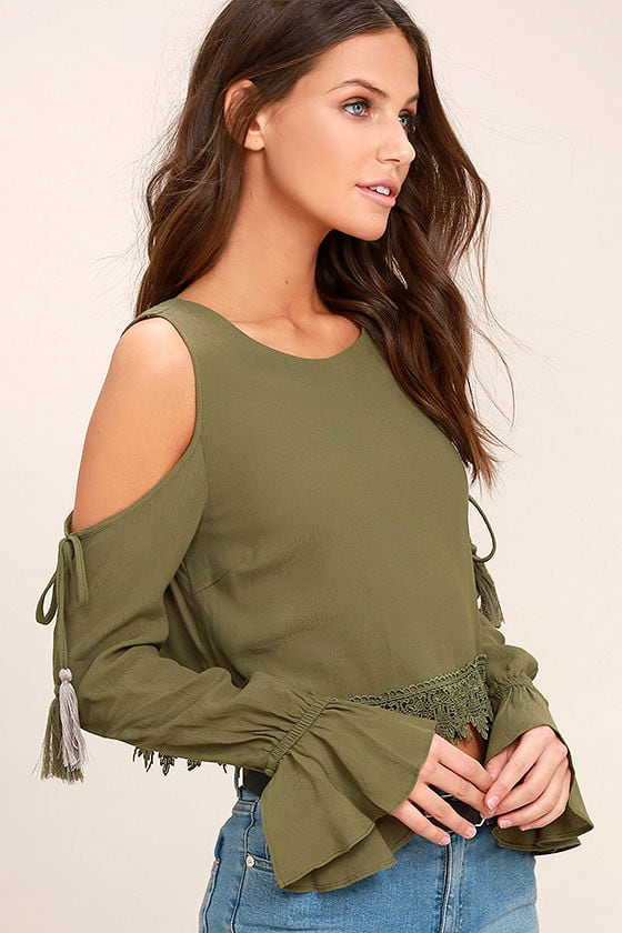 Trip to the Vineyard Olive Green Long Sleeve Lace Crop Top 3