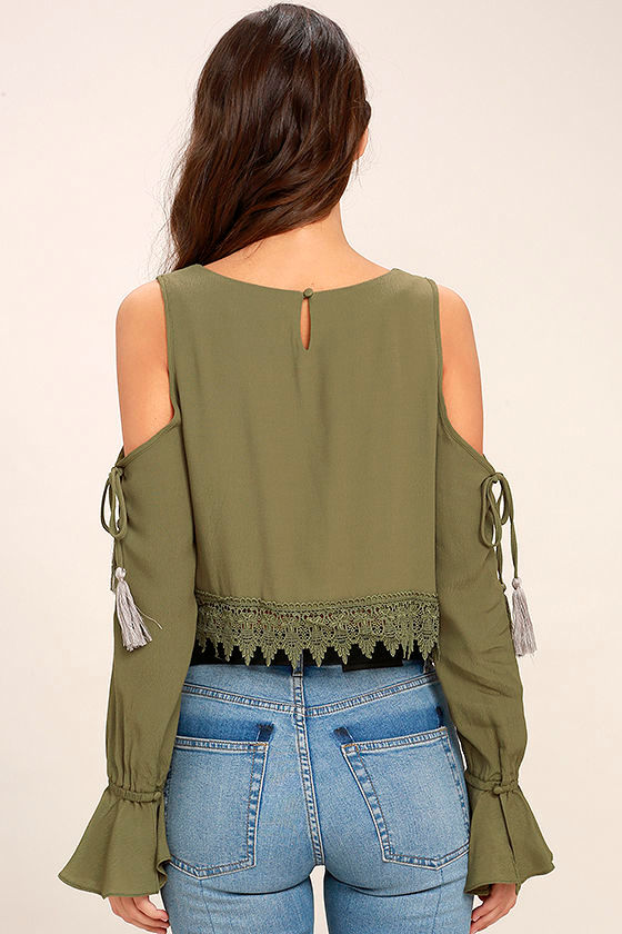 Trip to the Vineyard Olive Green Long Sleeve Lace Crop Top 4