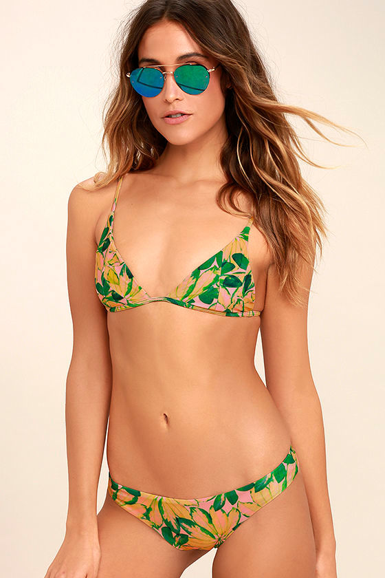 Stone Fox Cai Green Tropical Print Bikini Bottom 1
