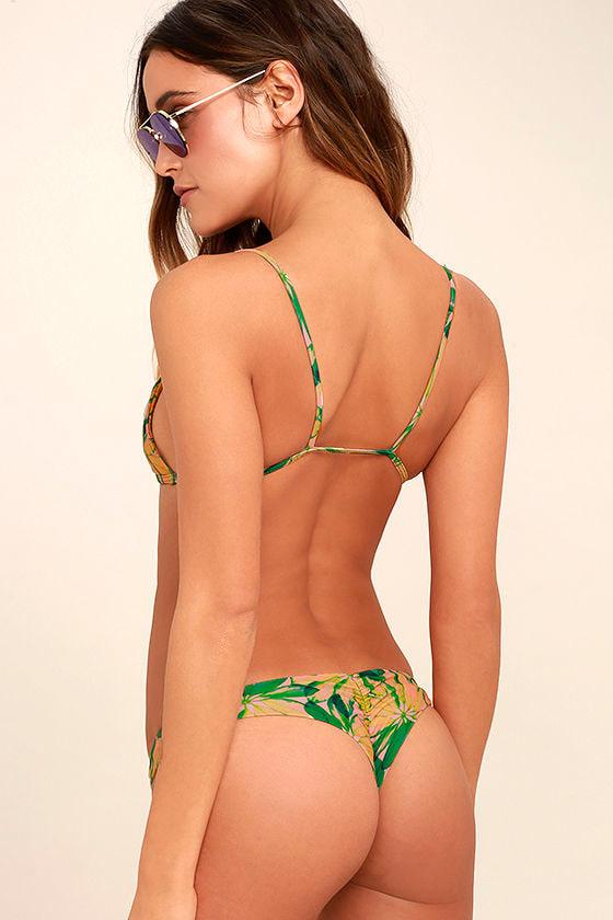 Stone Fox Cai Green Tropical Print Bikini Bottom 3