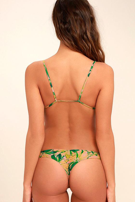 Stone Fox Cai Green Tropical Print Bikini Bottom 4