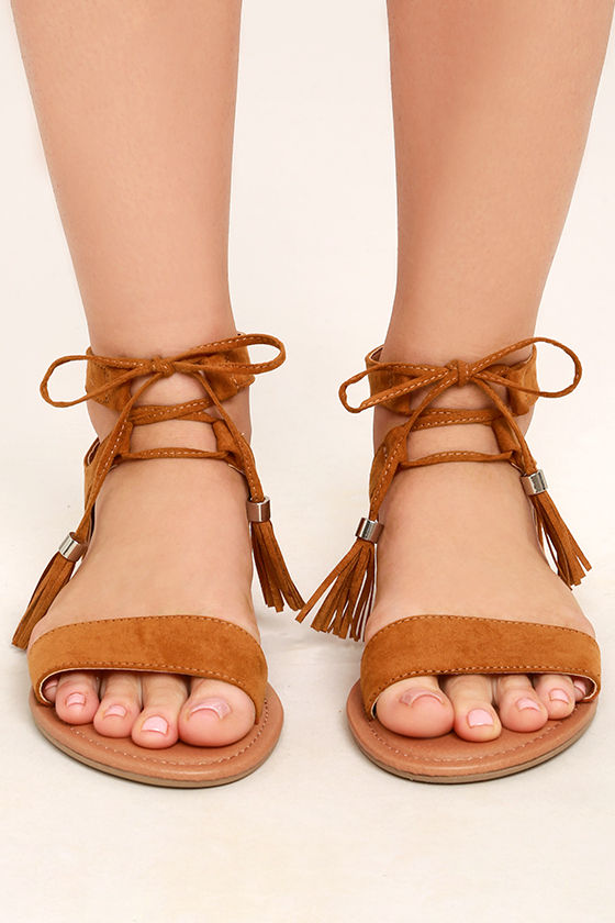 Cute Whisky Brown Sandals - Flat Sandals - Lace-Up Sandals - Boho ... 6e5475f2d