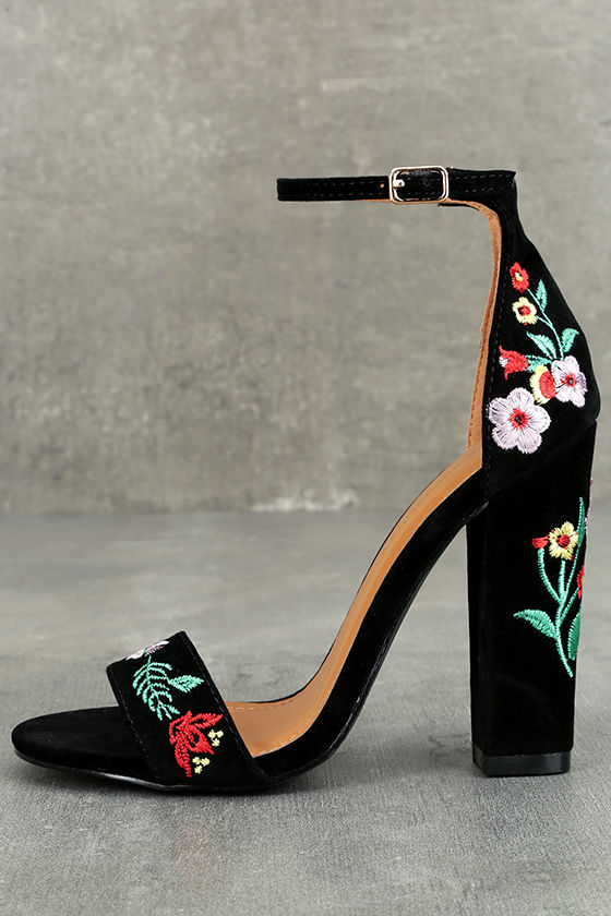 Suri Black Embroidered Ankle Strap Heels 1
