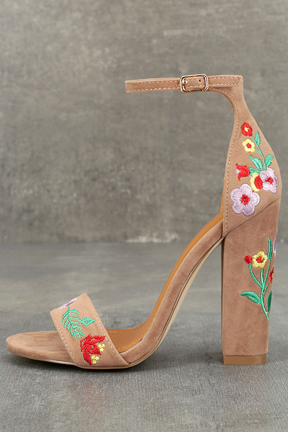 Suri Taupe Embroidered Ankle Strap Heels 1