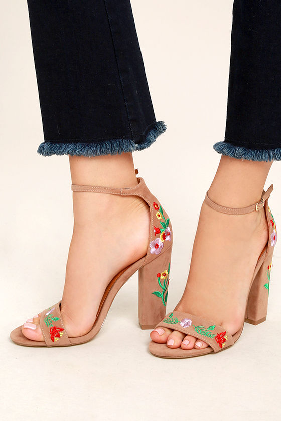 Suri Taupe Embroidered Ankle Strap Heels 2