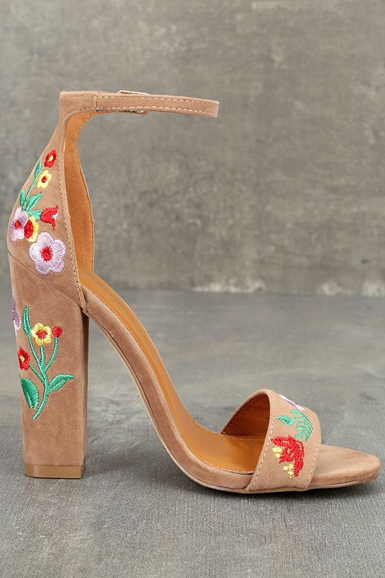 Suri Taupe Embroidered Ankle Strap Heels 4