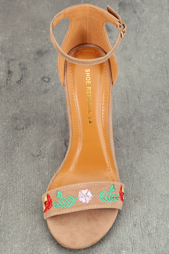 Suri Taupe Embroidered Ankle Strap Heels 5