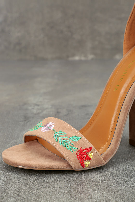 Suri Taupe Embroidered Ankle Strap Heels 6